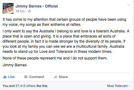Jimmy Barnes, 'Please don't use my music,' on Facebook.